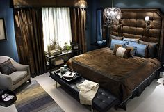 Sexy Bedroom Ideas - Get home interior inpired news and pictures ideas about interior design style trend for home improvements Blue Brown Bedrooms, Blue Bedroom, Dream Bedroom, Master Bedroom, Bedroom Decor, Bedroom Brown, Bedroom Ideas, Bedroom Bed, Cozy Bedroom