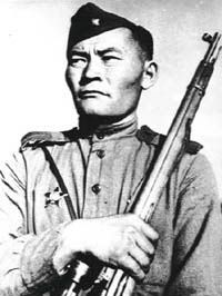Sniper Ibrahim Suleymanov.On account of the 239 dead Nazi. Kalinin front. 1943