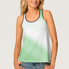 Custom Women's All-Over Print Green And White Tank Top
