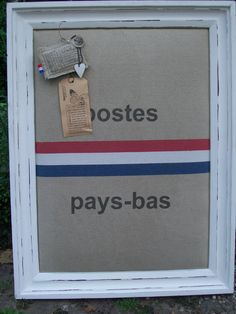 Prikbord van oude postzak | Bulletin board from old mailbag by Jolanda #DIY