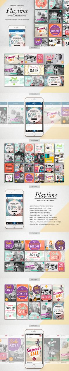 The Playtime Theme Social Pack is a fun and colorful #social media pack perfect for entrepreneurs, #business, mommy #bloggers, kids #fashion, schools, teachers, and #creatives. Promote your posts, #business, sales and #events on #Facebook, Pinterest, #Instagram and Twitter.