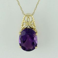 Amethyst 2.23 Ct Solitaire Pendant 10K Yellow Gold Occasion Top Lady Jewelry #SGL #Pendant
