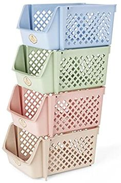 Stackable Storage Bins for Food, Snacks, Toiletries, Plastic Storage Set of 4 for sale online Stackable Storage Boxes, Stacking Bins, Storage Sets, Produce Baskets, Plastic Baskets, Plastic Storage, Practical Baby Shower Gifts, Pantry Shelving, Kitchen Storage