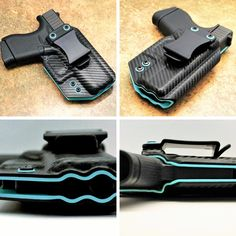 Black carbon fiber, over Tiffany blue, kydex holster! My wife would like this. 9mm Holster, Concealed Carry Holsters, Tac Gear, Kydex Sheath, Guns And Ammo, Tactical Gear, Survival Gear, Carbon Fiber, Hand Guns