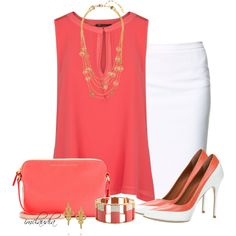 Coral and White by imclaudia-1 on Polyvore featuring polyvore fashion style MANGO Zara ALDO Marc by Marc Jacobs Lele Sadoughi LK Designs Tory Burch
