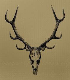 Skull Clip Art with antlers Royalty Free No by ImagesClipArt. , via Etsy.