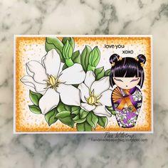 White Gardenia, Kokeshi Dolls, Digi Stamps, Copic, Hello Everyone, All Design, Giveaway, Oriental, Cards