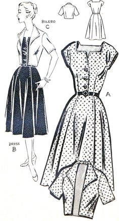 1950s Dress Pattern Full Skirt Front Button by paneenjerez on Etsy, $18.00
