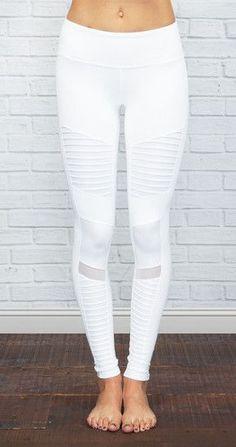 ALO YOGA | Athena Moto Legging in White/White Glossy