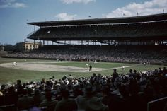 The view inside Wrigley Field during a 1959 Cubs game. The stadium was built in 1914.