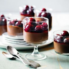 Cardamom Chocolate Mousse with Fresh Cherry Compote, a delicious recipe from the new Cook with M&S app.