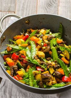 30 minute dinner with zucchini, bell peppers and snow peas.