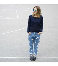 @Who What Wear - Afterdrk is wearing: AcneJeans, Rag & Bone Sunglasses, Tommy Hilfiger Shoes.    Get The Look: ASOS Only Boyfriend Jean With Rips ($64)    See more ways to wear boyfriend jeans on Pose.com.            ASOS Only Boyfriend Jean With Rips ($64)