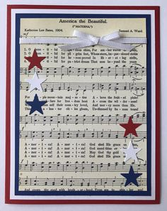 Handmade of July Card America The Beautiful Red White Blue Patriotic USA Happy Fourth Of July Independence Day by JuliesPaperCrafts on Etsy Patriotic Crafts, July Crafts, Patriotic Party, Americana Crafts, 4th Of July Celebration, 4th Of July Party, Happy Fourth Of July, July 4th, Military Cards