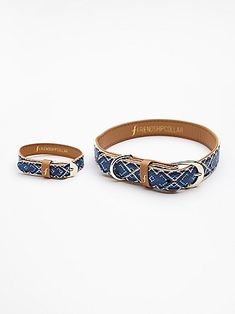 "$38 Friendship Dog Collar | Take ""man's best friend"" to a whole new level and flaunt it to the world with this matching collar and bracelet combo.  This brightly patterned friendship duo represents the love and trust between you and your pup.  Gold hardware"