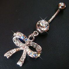 14g~3/8 Cute Bow Belly Button Navel Rings Ring Bar Body Piercing Jewelry S19 on eBay!