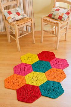 Tuto DMC Tapis de sol hexagonal à crocheter avec les fils Natura XL