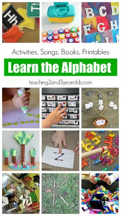 Alphabet Learning for Kids - 17 literacy activities, songs, books, and printables to help preschool kids learn their ABCs in a fun, hands-on way. Teaching 2 and 3 Year Olds