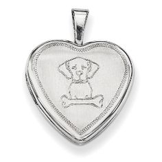 Sterling Silver Puppy Dog with Bone Locket in Sterling Silver