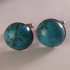 Men's Elegant Pair of Silver Metal & BlueTurquoise Glass Cuff Links with Round Frame Settings, Hand Crafted Cufflinks by RWH on Etsy, $21.99