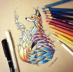 Самые популярные тэги этого изображения включают: drawing, fox, art, draw и animal