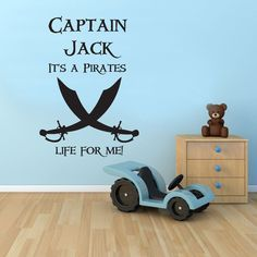 PIRATE WALL STICKER PERSONALISED BOYS BEDROOM VINYL MURAL DECAL TRANSFER