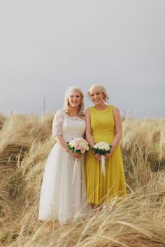 Cute bride with bridesmaid in yellow dress | www.onefabday.com Yellow Bridesmaid Dresses, Bridesmaid Dress Styles, Wedding Dresses, Fall Wedding, Our Wedding, Dream Wedding, Bridesmaid Inspiration, Wedding Colours, Marquee Wedding