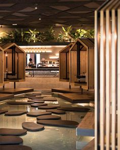 Japanese Restaurant Interior, Japanese Interior, Restaurant Interior Design, Spa Interior Design, Interior Design Images, Exterior Design, Coffee Shop Design, Cafe Design, House Design