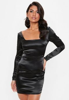 a satin mini dress with a square neck and long sleeves in a black hue. little black dress classic short bachelorette party classy lace cocktail night outfit bodycon club curvy tight fit Tight Dresses, Trendy Dresses, Satin Dresses, Cute Dresses, Black Satin Dress, Satin Mini Dress, Satin Skirt, Leather Dresses, Stunning Dresses