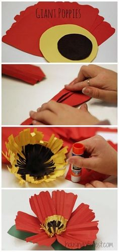 Giant Paper Poppy Flower ~ Remembrance Day Craft that practices folding and scissor skills Poppy Craft For Kids, Art For Kids, Crafts For Kids, Remembrance Day Activities, Remembrance Day Poppy, Spring Art, Spring Crafts, Construction Paper Flowers, Theme Carnaval