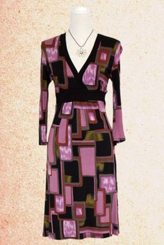 Empire knee long dress, puzzle dress, purple and green colored dress