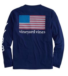 All-American whale lineup! Play all day in this Vineyard Vines Men's Long-Sleeve Mini Whale Flag Pocket T-Shirt in Deep Bay that proudly displays the Stars & Stripes in a formation of whales. - 100% c