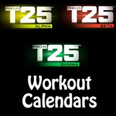 focus t25 workout calendar