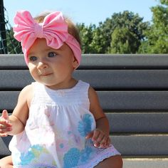 Pretty in Pink!!! Darling @hallen.amelie looking so cute in her messy big bow headband!! #thinkpinkbows #bigbows #pink
