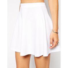 ASOS Skater Skirt In Texture ($28) ❤ liked on Polyvore featuring skirts, skater skirt, asos skirts, white flare skirt, elastic waist skirt and high waisted knee length skirt