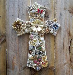 Vintage Costume Jewelry Collage One of a Kind Cross Artwork  #Collage