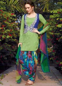 Green Jacket Style Cotton Punjabi Suit