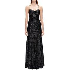 Black Sequin Spaghetti Strap Formal Gown