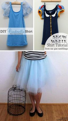 DIY Princess Shirts from Rae Gun Ramblings. Make these easy princess shirts from tanks and sew a 30 minute tulle skirt. Cute costumes for kids or adults. For more costumes of all types check out the...