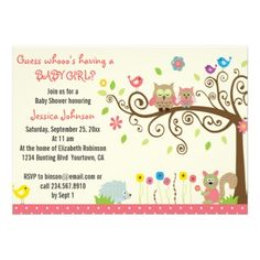 Cute Pink Owls Baby Shower Invitations for Girls