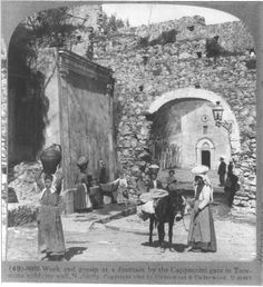 1906 - Cappuccini gate in Taormina's old city wall, Sicily.