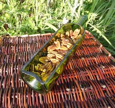 Wine Bottle Serving Tray GREEN by ConversationGlass on Etsy