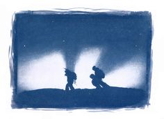 Victor De Le Rue and Janne Lipsanen, hiking through thin clouds at sunrise. Cyanotype print from enlarged negative. From serial work of 2010...
