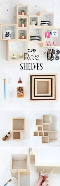 box-shelves | dorm decor | apartment decor | craft | shelves | budget | save money | DIY dorm decor | DIY Room Decor: How to Express Yourself Without Spending Too Much