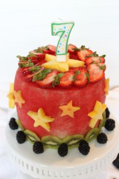 Watermelon cake with assorted fruit