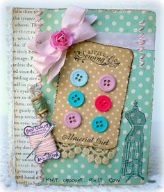 Make a vintage style button card using Material Girl Clear Art Stamp Set from Crafty Secrets