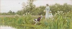 Thomas James Lloyd - A Mother and Child with their Sheepdog on the Banks of a River 1897