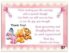 details about pooh baby shower thank you cards w env