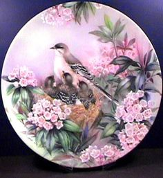 Nature's Poetry: Song of Spring - WS George - Artist: Lena Liu Easy Christmas Decorations, Decoupage Vintage, Plate Art, China Painting, Bird Design, Beautiful Birds, Art Images, Creative Art, Decorative Plates