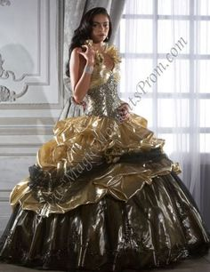 Magnificent Gold and Black Ruffles Adorned Halter Strap Ball Gown Quinceanera Dress Robes Quinceanera, Pretty Quinceanera Dresses, Nice Dresses, Formal Dresses, Wedding Dresses, Gown Wedding, Formal Wedding, Bridal Gown, Quinceanera Collection